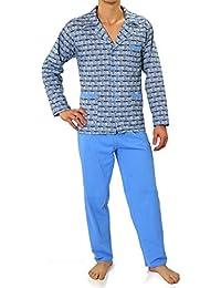 Sesto Senso® Pijama Hombre Algodon con Botones 2 Piezas Ropa De Dormir Conjunto Set Camisa