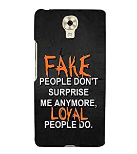 For Gionee M6 fake people dont't surprise ( quotes, good quotes, nice quotes, fake people dont't surprise, black background ) Printed Designer Back Case Cover By Living Fill