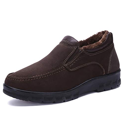 XIGUAFR Herrenschuhe Pelz Schuh innen warm hält täglich weich Papa lässigen rutschfesten Schuh -
