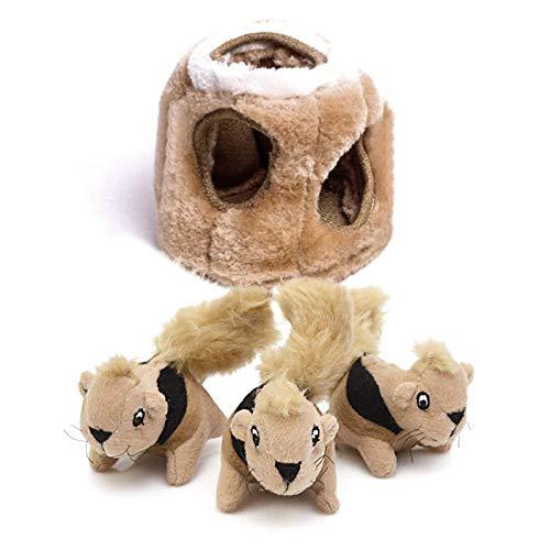 sfestes Spielzeug aus Plüsch, kleine Eichhörnchen, Baum mit Löchern ()