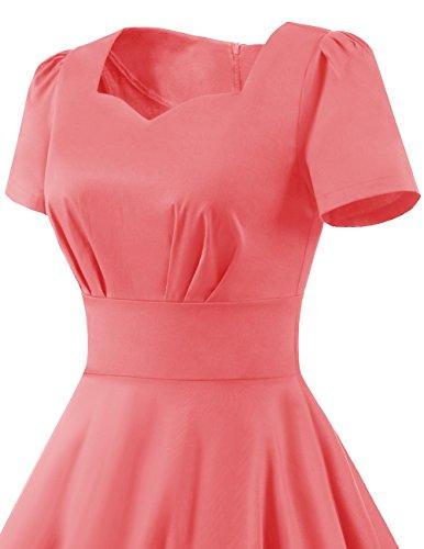 Dresstells Damen Vintage 50er Rockabilly Kurzarm Swing Kleider Partykleid Pink L - 6