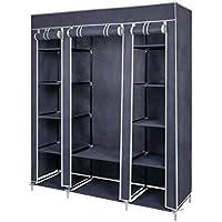 Armarios de Tela para Ropa Armario Closet organizador Textil Plegable y 1 Carril de ropa 175 x 150 x 45 cm