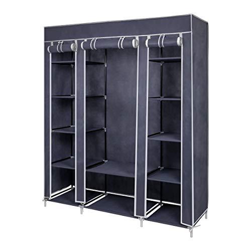 Meerveil Kleiderschrank Höhe 175cm, Stoffschrank Faltschrank Garderobe mit Kleiderstange, 3 hochrollbaren Türen 175cm*150cm*45cm, Grau