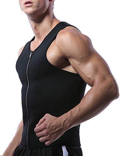 SLIMBELLE Herren Body Shaper Sauna Anzüge Weste Schwitzeffekt Tank Top Neopren Schwitzanzug Mit Reißverschluss Für Gewichtsverlust Taillenformer Bauchweggürtel Für Fitnesstraining-L