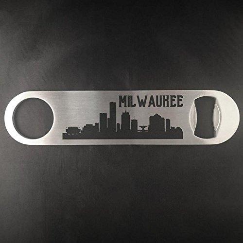 Milwaukee Wisconsin skyyline Edelstahl Heavy Duty Flat Bar Schlüssel Bier Lasergravur Flaschenöffner (Green Bay Transfer)