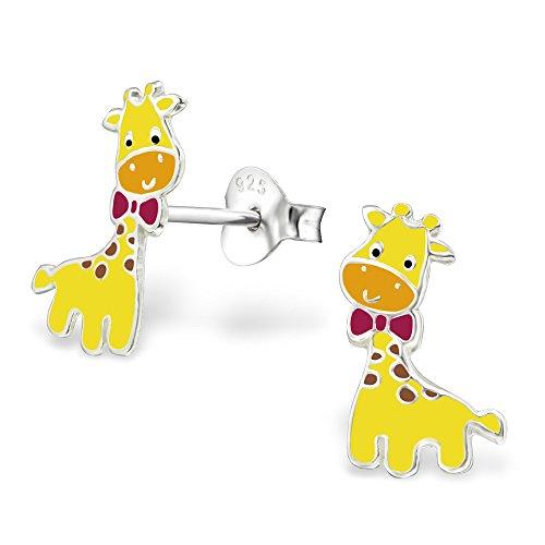 Monkimau 925 Silber Giraffen Ohrringe Kinder-Schmuck Kinder-Ohrstecker Sterling Silver Damen Frauen Mädchen-Ohrstecker Geschenk-e (Silber)