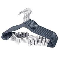 IEOKE Pants Hangers, Trousers Hangers with clips,Velvet Hangers Non Slip Clothes Hangers with Heavy Duty 360 Swivel Hanger Hook - 12 pack...