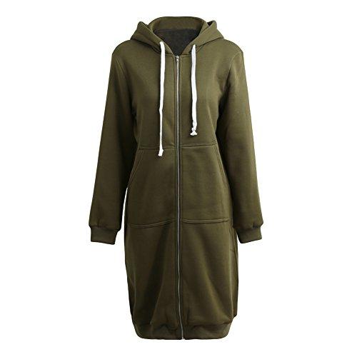 Romacci Damen Kapuzenpullover Lange Kapuzenpullis Beiläufiger Taschen Hoodie Pullover, Größe XXL, Farbe Grün - 3