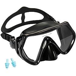 Supertrip Snorkeling Masque de plongée en apnée Film Anti-buée pour Adulte Lunettes de plongée panoramiques en Verre trempé (Noir)