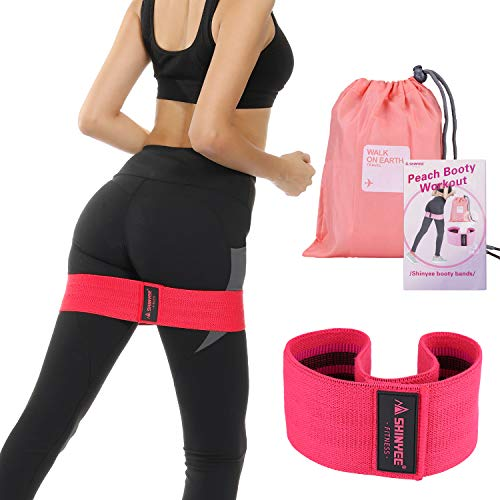 Shinyee elastici fitness banda elastica fascia resistenza per glutei gambe donna alta resistenza antiscivolo per allenamento pilates sport booty builder hip resistance band(red-s-33cm)