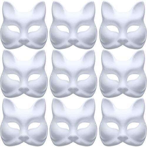 Jovitec 10 Stücke DIY Maskerade Maske Normalpapier Maske Weiß Fuchs Maske für DIY Halloween Karneval ()