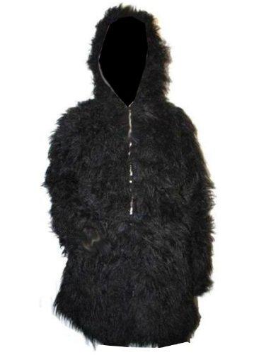 UV Neon flauschiges Fell Mantel mit Pelz Schwarz - Schwarz