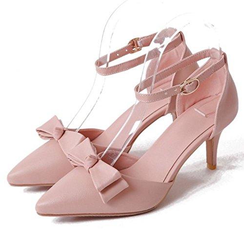 COOLCEPT Damen Mode Knochelriemchen Sandalen Stiletto Geschlossene Schuhe Mit Bogen Rosa