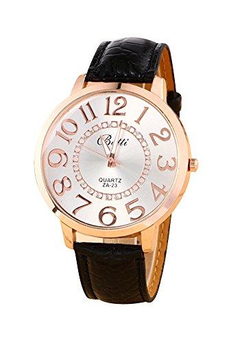 Montre-bracelet - Batti ZA-23 Unisexe montre-bracelet de cadran de gros chiffres strass avec bande en simili cuir noir