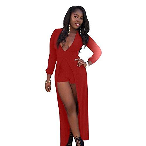 Blansdi Damen Mädchen Frauen Sommer beiläufig Sexy V-Ausschnitt lange Ärmel kurze Hose Jumpsuit Overall irregulär Teilt Kleid Minikleid Cocktail kleid Party Clubwear Rot