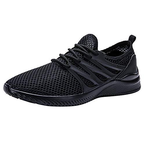 Herren Damen Sneaker Running Laufschuhe Sportschuhe Rutschfeste Ultraleichte Mesh Turnschuhe Schweißbeständig Schnell Trocknend Schwarz, grau, weiß EU39-43 von YEARNLY