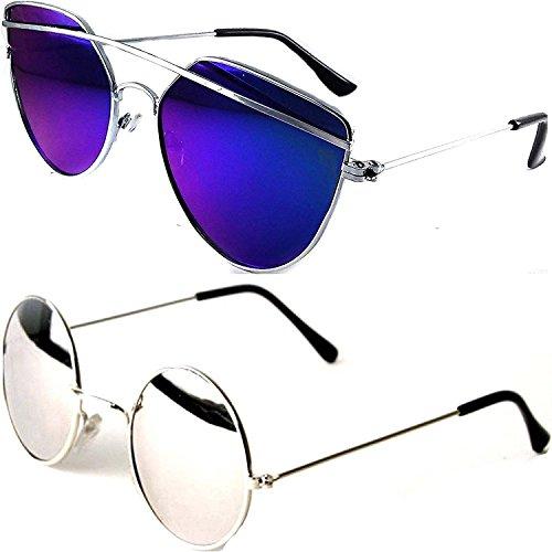 Y&S Combo Of 2 Wayfarer And Round Unisex Sunglasses(Drsbm-Rdssm|55|Blue)