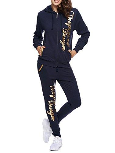 Damen Jogginganzug Jogging Hose Jacke Sportanzug Sporthose Fitness Hoodie Hose navyblau/gold XL [44]