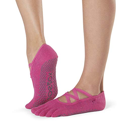 Toesox Grip Pilates Barre Socks-Non Slip Elle Full Toe for Yoga & Ballet Calcetines, Mujer, Fantasy, Medium