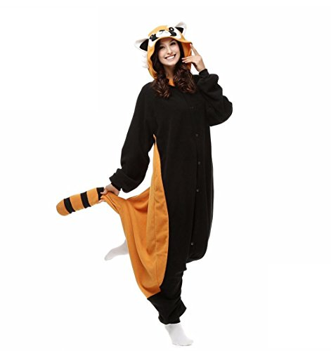 Cosplay / Bär / Waschbär Trikot / Onesie Halloween Tier Nachtwäsche Schwarz Patchwork Polar Fleece Kigurumi Unisex , xl (Bär Happy Halloween)