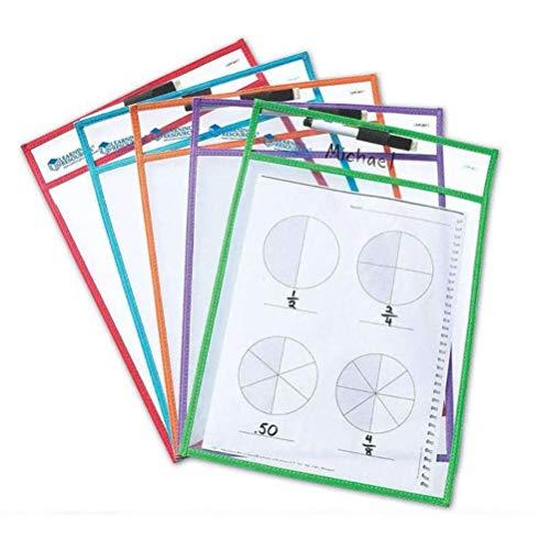 en abwischbare Taschen zum Schreiben und Abwischen, transparente Schutzfolie, perfekt für Klassenzimmer, wiederverwendbar, trocken abwischbare Taschen, Lehrzubehör 10 Stück ()