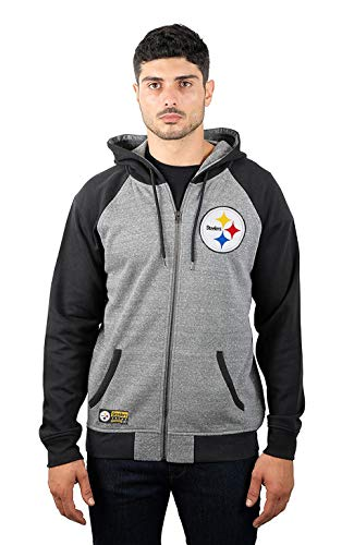 ICER Brands NFL Herren Kapuzenpullover mit Reißverschluss Raglanjacke, Teamfarbe, Herren, Full Zip Hoodie Sweatshirt Raglan Jacket, Team Color, grau, X-Large