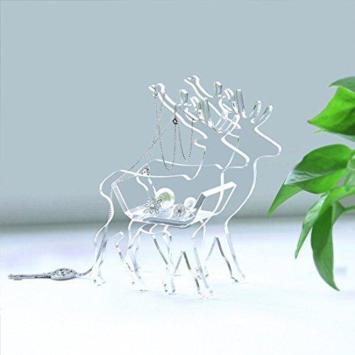 CiCi & SISI soporte para pendientes Lucky Navidad ciervos boda anillos joyería soporte pantalla bandeja acrílico almacenamiento para stubs & collar