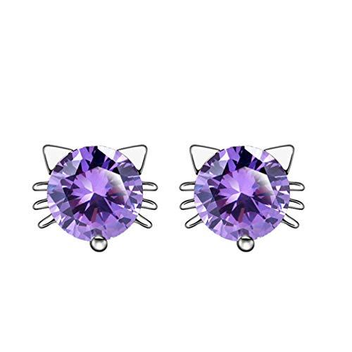(YESMAEay Katze Ohrringe Frauen Ohrstecker Katze Sprite Ohrringe Nette Zirkon Ohrringe Mädchen Ohrringe Kinder Lila Diamant versilbert)