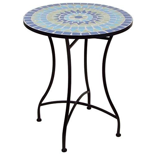 Mosaiktisch 70x60 cm - Gartentisch Beistelltisch Balkontisch Bistro Tisch rund