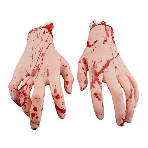 PowerBH 1 Paar Halloween Realistische Silikonprothese Gebrochene Hand Gebrochener Fuß Dekoration Spielzeug Unheimlich Blutig Ordentlich Requisiten Horror Party Dekoration