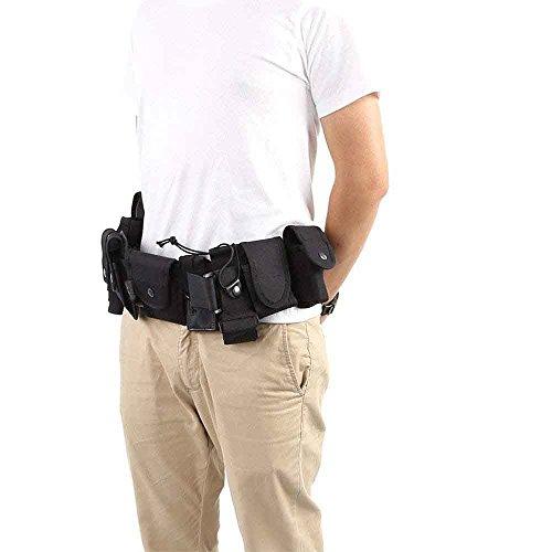 GFEU Kit de Cinturón Táctico, Multifunción, Duradero, Negro, Sistema de Cinturón de Seguridad con Bolsillos para Guardia de Policía al Aire Libre