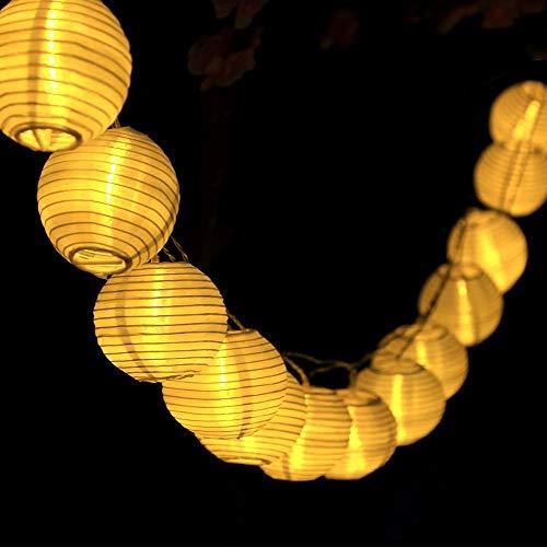 Solar Lampions Lichterkette Außen, Yooger 6m 30 LED 8 Modus Wasserdicht Batteriebetriebene Laterne Partybeleuchtung Led Deko [Energieklasse A+++] (Warmweiß)