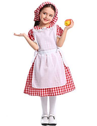 Kinder 1800 Kostüm - AlisaPrincessQ Oktoberfest Colonial Pioneer Prairie Historische Magd Kellnerin Kostüme Kleid für Kleinkind Kind Mädchen 4-12 Jahre (L (Höhe: 55,1-59,1 Zoll), rot)