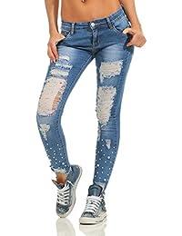 c48580172c59 Fashion4Young Damen Jeans Röhre Skinny Damenjeans Stretch Denim Destroyed  Cut-Outs Risse
