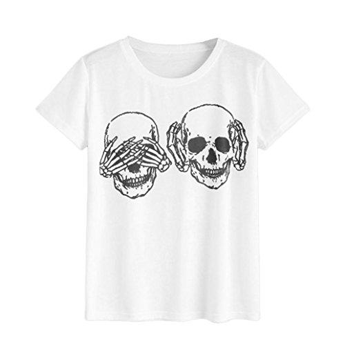 Produktbild Mallorma® Frauen Damen Schädel Druck T-Shirt Kurzarm Casual Tops Bluse Shantou Bedruckte kurzärmeliges T-Shirt-Oberteil (M, weiß)