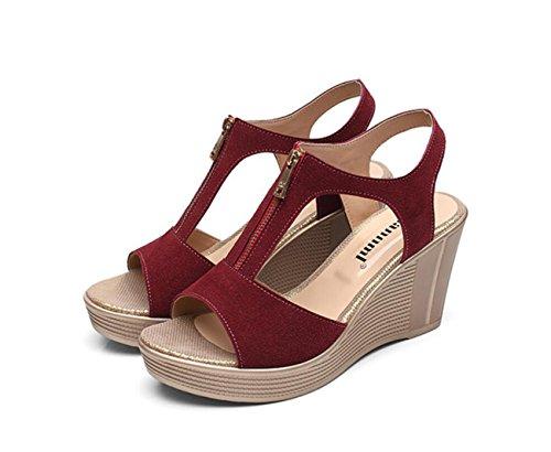 Damenschuhe Leder Sommer Komfort Sandalen Keilabsatz Peep Toe für Büro & Karriere Sandalen (Color : Rot, Größe : 39) (Front-peep-toe)