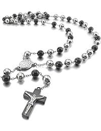 MunkiMix Acero Inoxidable Colgante Collar Plata Negro Jesús Cristo Crucifijo Cruzar Cruz Rosario Vendimia Vintage Retro 29 Pulgada Cadena Hombre ,Cadena