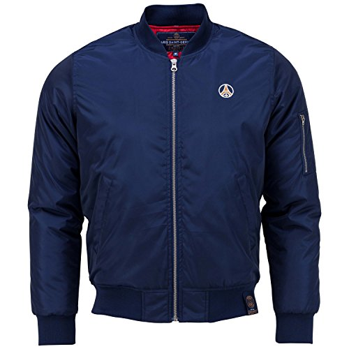 Giubbotto Bomber PSG-Collezione ufficiale Paris Saint Germain-Taglia adulto uomo, Uomo, blu, XL