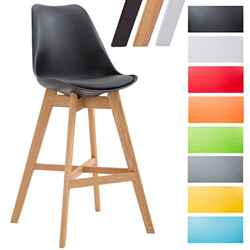 CLP Tabouret de bar CANNES en revêtement similicuir rembourré et coque plastique, chaise haute à dossier et pietement quatre pieds bois avec repose-pieds pour tout usage en intérieur noir, Piètement: nature
