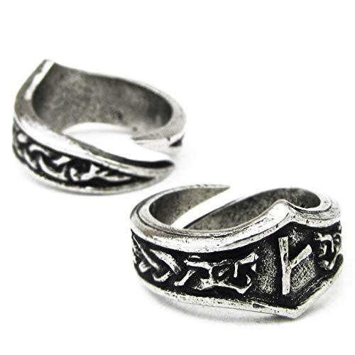 Unisex Wikinger Ring mit Runen aus Hartzinn, Verstellbar (K/Q - Kaun)