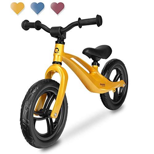 Lionelo Bart Laufrad, Balance Bike ab 18 Monaten bis zu 30 kg, 12-Zoll-Eva-Räder, Lenkrad und Sattel höhenverstellbar (Gold)
