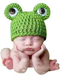 SaiDeng Bebé Recién Nacido Photo Lindo Rana Hat De Apoyo De La Fotografía Verde