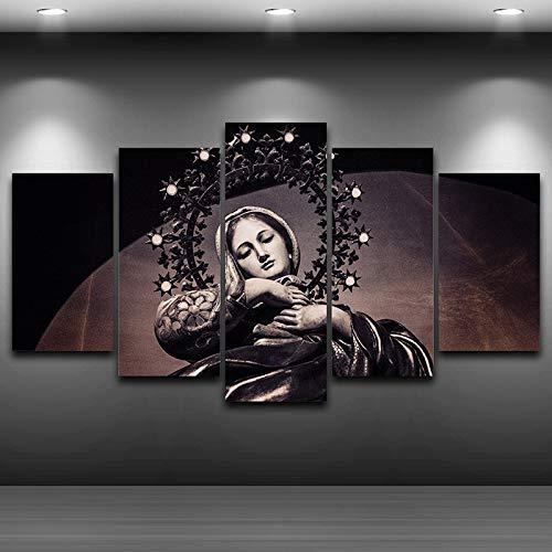 juntop Imagenes Enmarcadas Arte Moderno De La Pared Imágenes De Lienzo para Sala De Estar Carteles 5 Piezas Virgen María Pintura Decoración para El Hogar HD Marco De Fotos Impreso-Marco