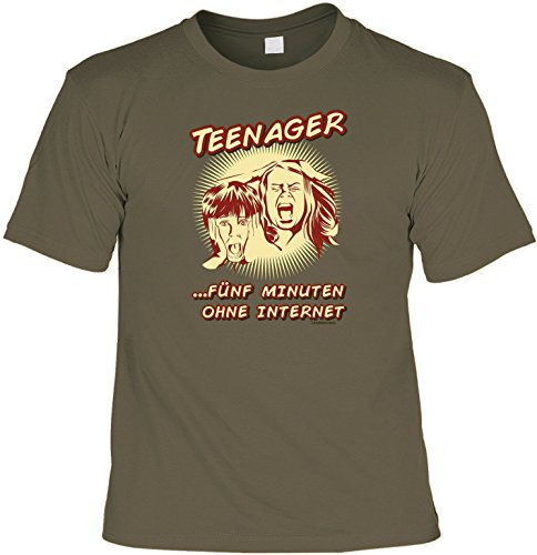 Fun T-Shirt Teenager 5 Minuten ohne Internet Shirt bedruckt Geschenk Set mit Mini Flaschenshirt Khaki