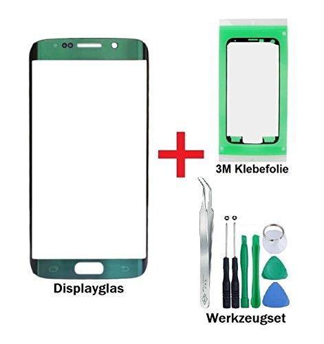 iTG® PREMIUM Displayglas Reparatur-Set für Samsung Galaxy S6 EDGE Grün (Green Emerald) - Oleophobic Front Display Glas für Modell SM-G925F + Vorgeschnittene 3M Klebefolie und 8-Stück Werkzeug-Set