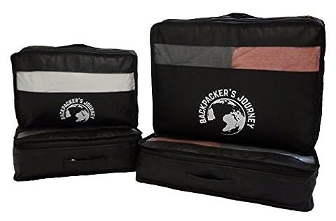 Backpacker's Journey Kleidertaschen mit Haken, Packwürfel 4-teiliges Set schwarz. Ideal für Backpacks, Rucksäcke und Koffer aller Art.