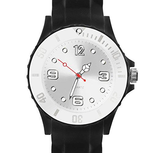 Taffstyle Damen Herren Sportuhr Armbanduhr Silikon Sport Watch Farbige Krone Analog Quarz Uhr 43mm Schwarz Weiß