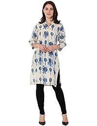 BLUEPOCKET Kurti / Kurta For Women (Cotton, Straight, Long, Beige With Blue Print)