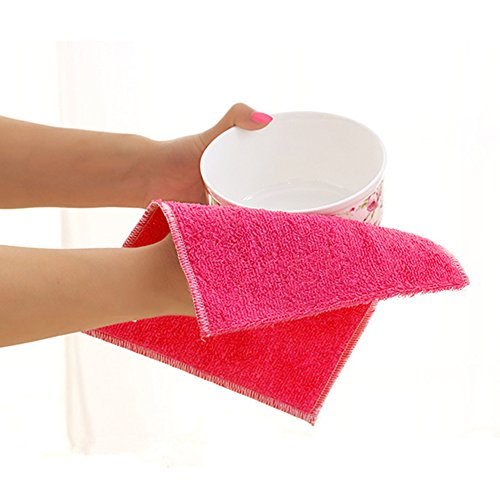 SMARTRICH 1Größe Bambus Faser Reinigungstücher Abwaschtücher Waschen Reinigung Handtuch Mikrofaser, organisch, rot, 30 * 27cm