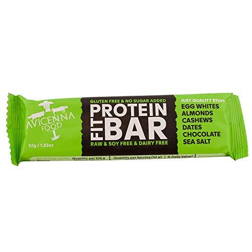 Avicenna Protein Riegel FIT BAR   100% Natürlich   Hoher Proteingehalt   Viel Energie   Soja-frei   Gluten-frei   Molkerei-frei   Roh  , Schokolade und meersalz, Packung mit 15 × 52 g proteinriegeln -